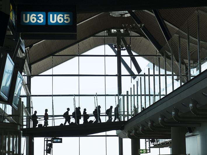 Aéroport de Madrid, en transit